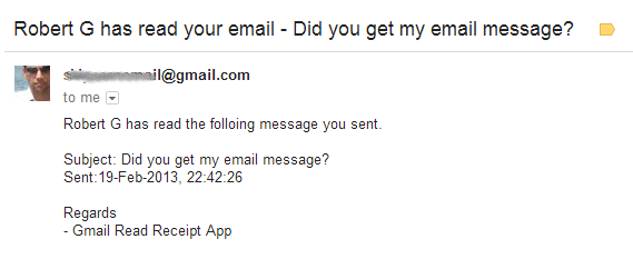 Sample gmail read receipt notification