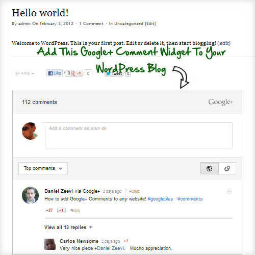 Google+ comments widget wordpress