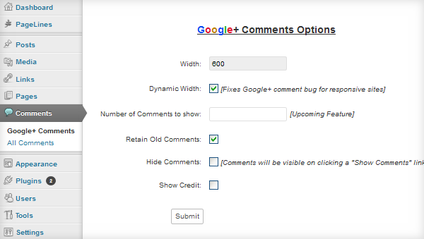 Google+ comments widget options wordpress