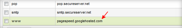 Google pagespeed CNAME configuration
