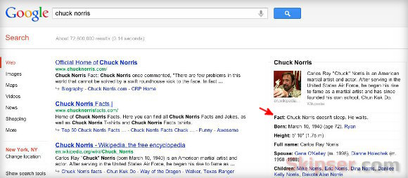 Chuck Norris fact in Google knowledge graph.