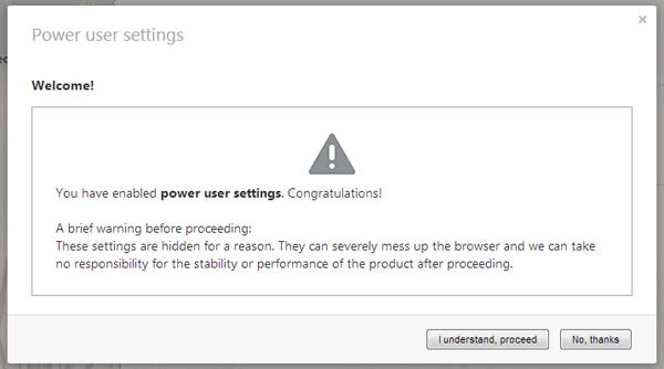 Enable power user settings opera