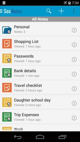 Secure note app android