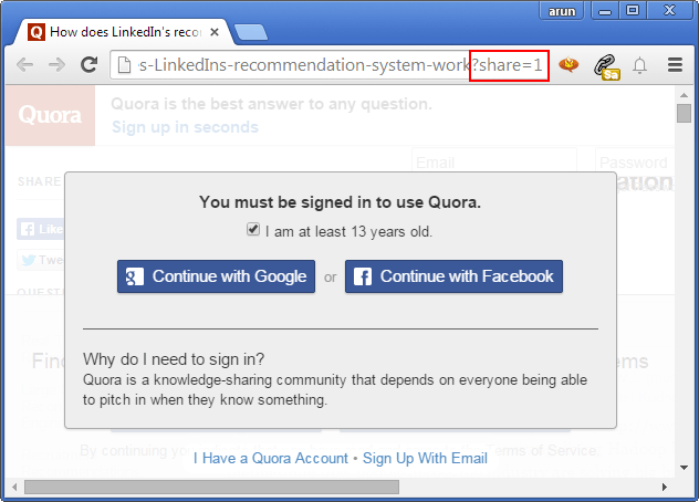 see all quora answers without sign up