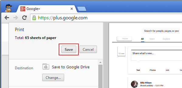 save web page to google drive as pdf file.