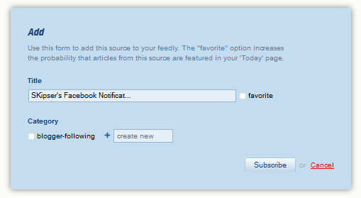 get facebook notifications in feedly
