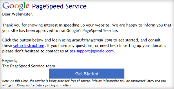 Google pagespeed invite email