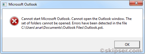 Outlook pst corrupt error.