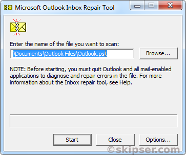Scanpst outlook pst file repair window 1