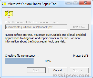 Scanpst outlook pst file repair window 2
