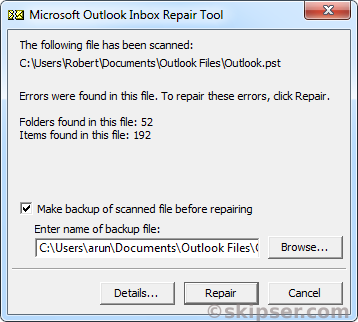 Scanpst outlook pst file can report